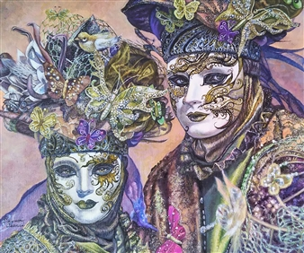 Sayumi Osanai - Venetian Mask 2 Oil on Canvas, Paintings
