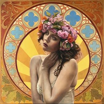 John Britton - Summer Reverie Oil on Canvas, Paintings