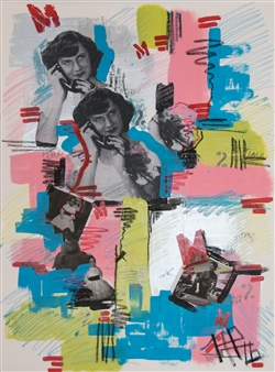 Nancy Landauer - Call You Later Acrylic & Collage on Paper, Mixed Media