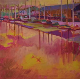 Julia Rowlands - Freemans Quay, Penryn Oil on Canvas, Paintings