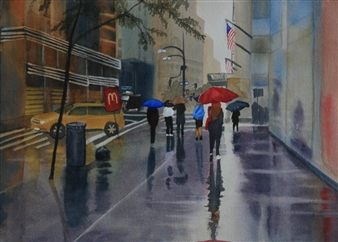 Tammy Phillips - Walking In The Rain Watercolor on Paper, Paintings