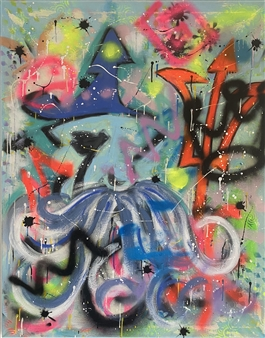 Lisa Gehres - Angry Man Acrylic & Spraypaint on Canvas, Paintings