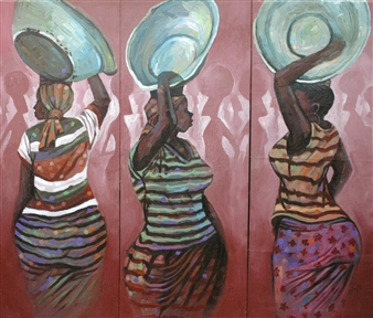 Francis Annan Affotey - Kaya Yei (Head Porters) Acrylic on Canvas, Paintings
