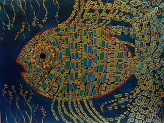Salome Chelidze - Fish N3 Acrylic on Canvas, Paintings