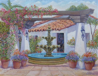 Miguel A. Chavez - Water Fountain Oil on Canvas Panel, Paintings