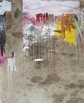 Vincent Donato - Untitled 1 Mixed Media on Vintage Drop Cloths, Mixed Media