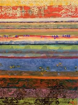 Marianne AuBuchon Devitt - Island Striation Oil & Acrylic on Canvas, Paintings