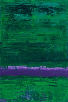 Catherine Timotei - Field Painting: Purple on Green Oil on Linen, Paintings