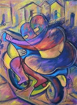 Miguel de la Cruz - Amor Sobre Ruedas Oil on Canvas, Paintings