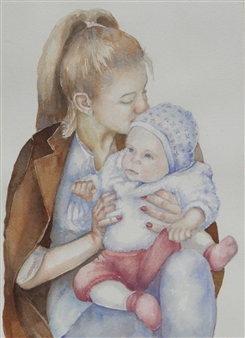 Pauli Zmolek - First Day as an Orphan Watercolor on Paper, Paintings
