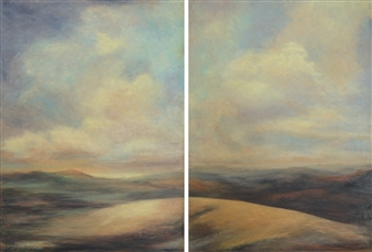 Margret Carde - Brightening with the Dawn (diptych) Oil Pastel on Panel, Paintings