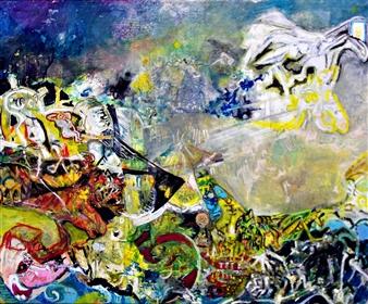 Elena Gastón Nicolás - Apocalipsis Según San Juan Book of Revelation.  Apocalypse of John. La Ordenación del Arte Astrakto.  Axtract Art Ordenation. Arkano XX  El Juicio Oil on Canvas, Paintings