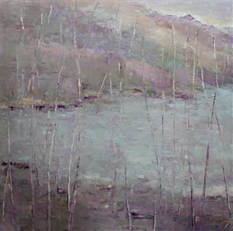 Becky Sungja Kim - OPL 1803 Seomjin Riverside Oil on Linen, Paintings