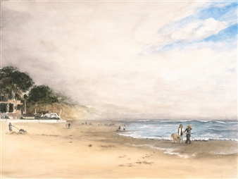 Nancy Holleran - Foggy Rio Del Mar Watercolor & Gouache on Paper, Paintings