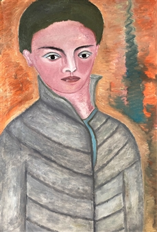 Merab Kardava - Boy in Great Coat Oil on Canvas, Paintings