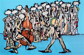 Sahar Khalkhalian - The Party of my Dreams Acrylic &  Mixed Media on Canvas, Mixed Media