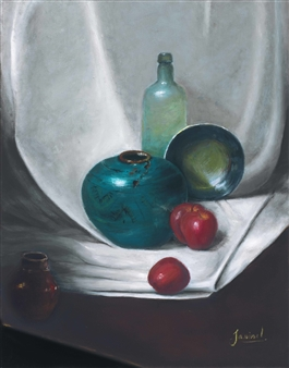 JANINA Leigue - Crystal Bottle Oil on Canvas, Paintings