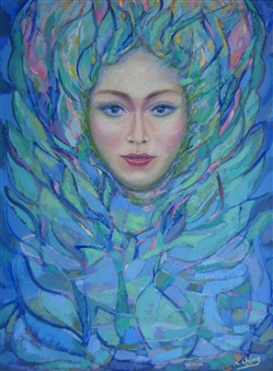 Miguel A. Chavez - Woman's Face Oil on Canvas, Paintings