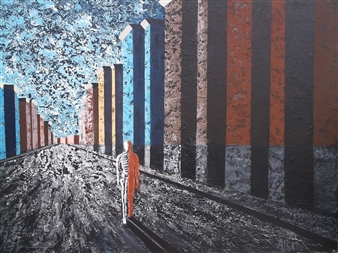 Frank M. Alba - Exiting the Past Acrylic on Canvas, Paintings