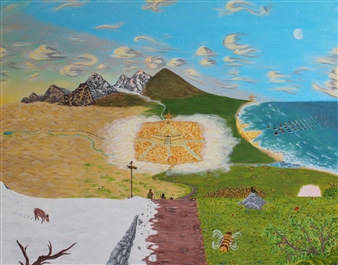 David Pallua - Golden City. Acrylic & Vinyl on Canvas, Paintings