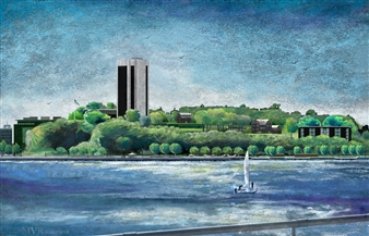 Michael Victor ▪ MVR - Chelsea Piers to S.I.T._ Digital Hudson River of Pixels Mixed Media Digital Print, Mixed Media