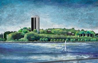 Michael Victor ▪ MVR - Chelsea Piers to S.I.T._ Digital Hudson River of Pixels Mixed Media Digital Print, Mixed Media