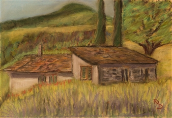 Raúl Mariaca Dalence - Fiesole-Italie Pastel on Canvas, Paintings