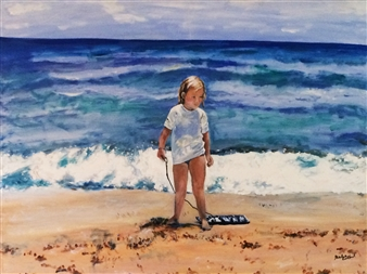 Marlene Kurland - Beach Girl Gathering Shells Oil on Canvas, Paintings