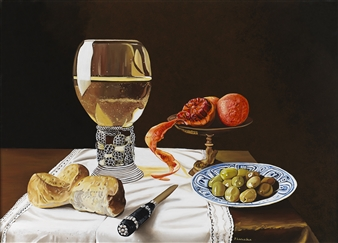 Pino Lavecchia - Still Life with Glass Oil on Canvas, Paintings