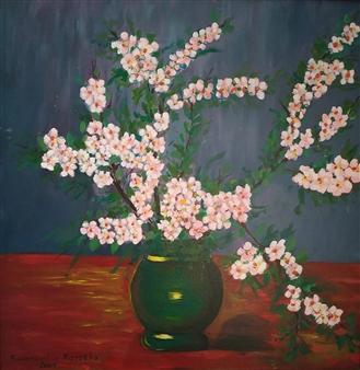 Konka - Under the Almond Trees Acrylic on Canvas, Paintings