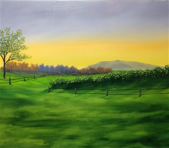 Hezekiah Baker Jr. - Mountain at Sunset Acrylic & Oil on Canvas, Paintings