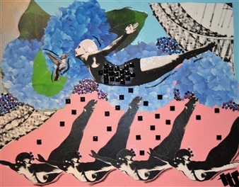 Nancy Landauer - The Divers 2 (Pink) Mixed Media Collage on Canvas, Mixed Media