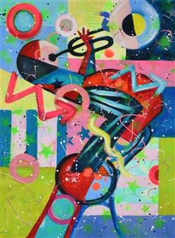 Lisa Gehres - Good Vibes Acrylic & Spraypaint on Canvas, Paintings