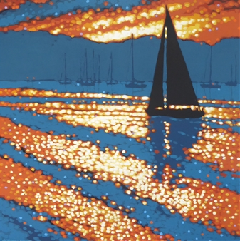 Gordon Hunt - Sunset Arrival Acrylic on Canvas, Paintings