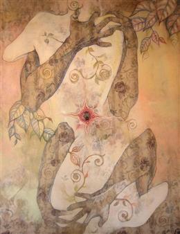Gilberto Arriaza - Abrazo al Cuerpoblanco Acrylic & Oil Pastel on Canvas, Paintings