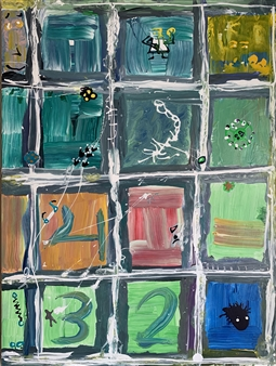 Hap Garrett - City Blocks Acrylic & Ink on Canvas, Paintings