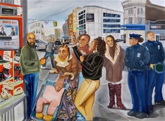 Herold Patrick Alexis - Trust Broken Again Oil on Canvas, Paintings