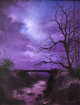 Mauricio Valdiviezo - Paisaje Magenta Acrylic on Canvas, Paintings