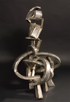 Attila Mata - Woman with Bent Shapes Stainless Steel, Sculpture