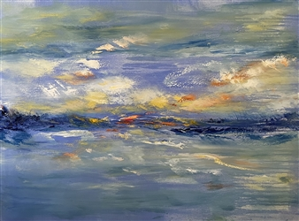 Christiane Palpant - River Rock Respite Oil on Canvas, Paintings