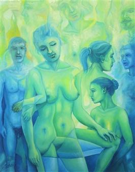 Gilberto Arriaza - Figuras Oil on Canvas, Paintings
