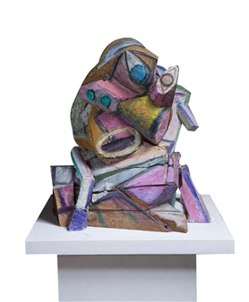 Attila Mata - Hommage à Picasso Painted Bronze and Painted Wood, Sculpture