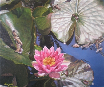 Sayumi Osanai - Water Lilies 1 Oil on Canvas, Paintings
