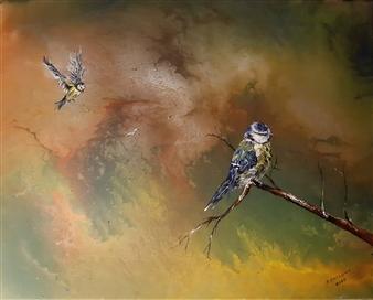 Anders Ekelund - Blue Tit Acrylic & Oil on Canvas, Paintings