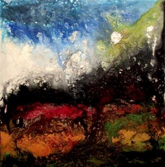 Maria Medrano - Eruption Oil, Acrylic, Gesso, Resin on Canvas, Mixed Media