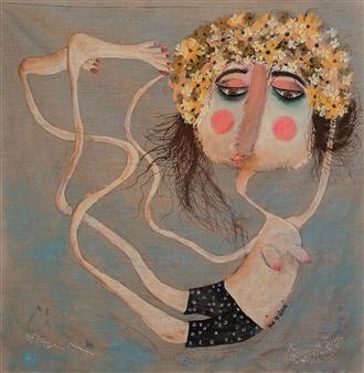 Mar De Redin - Mandaria Doll Mixed Media on Canvas, Mixed Media