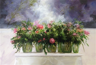 Lizzy Forrester - Pretty Mantle-peace (Meaning of Life..) Oil on Canvas, Paintings