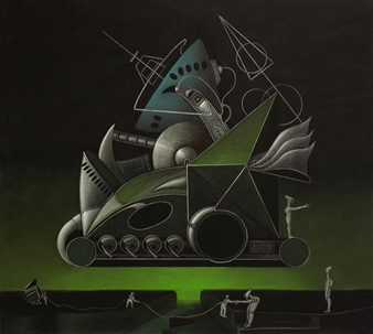 Pedro Vargas - Machine from a Green Galaxy Mixed Media on Paper, Mixed Media