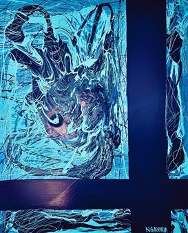 Natalia Gaviria - Blue Chaos Latex & Acrylic on Canvas, Mixed Media