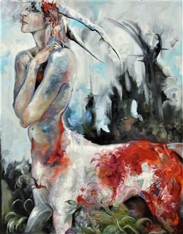 Jenny Blomquist - Centaur 7 Oil on Canvas, Paintings
